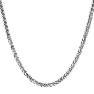 Men's Polished Stainless Steel Wheat Chain Necklace (24 Inches) - Silver