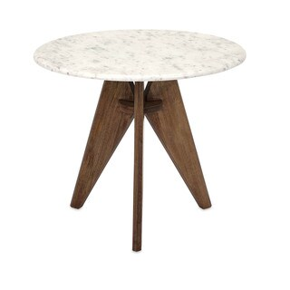 Febe Tall Marble and Wood Table