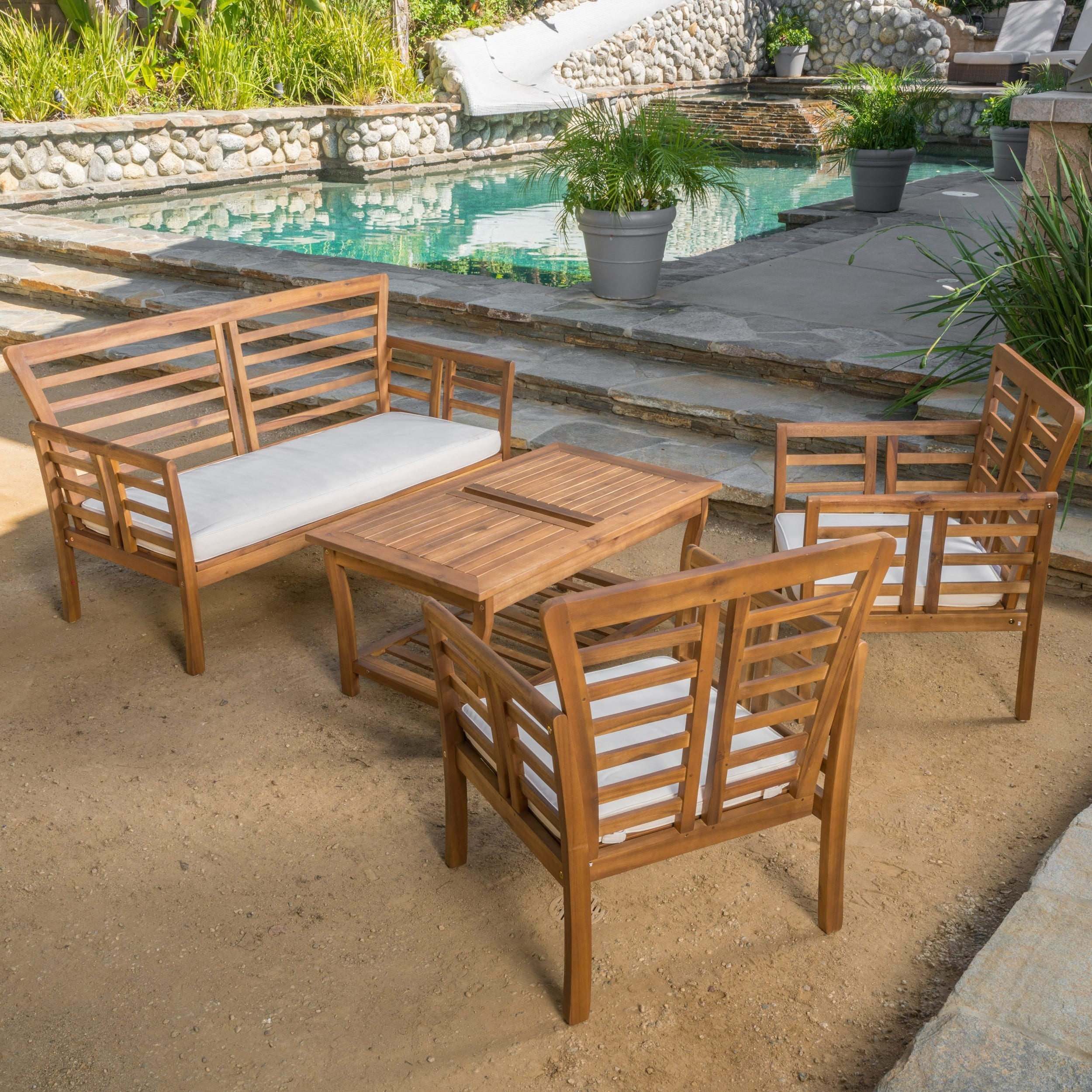 Christopher Knight Home Caydon Outdoor 4-piece Acacia Wood Chat Set with Cushions (2 options available)