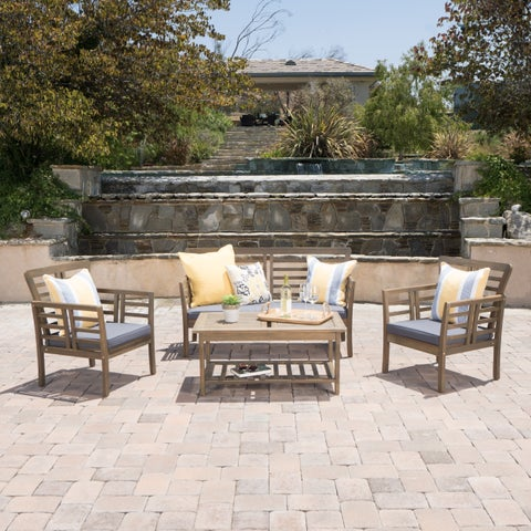 Christopher Knight Home Caydon Outdoor 4-piece Acacia Wood Chat Set with Cushions