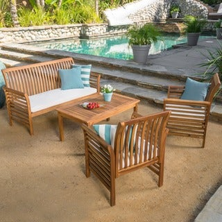 Desmond Outdoor 4 Piece Acacia Wood Chat Set With Cushions By Christopher  Knight Home