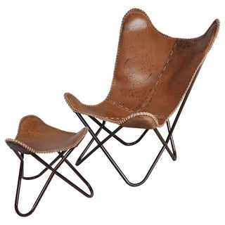 Anti-brown Butterfly Leather Chair and Ottoman