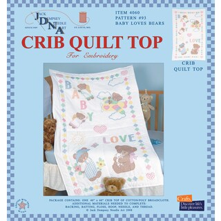 Stamped White Quilt Crib Top 40inX60inBaby Love Bears