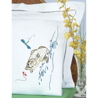 Stamped Pillowcases W/White Perle Edge 2/PkgFish