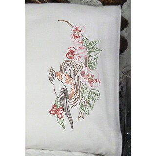 Stamped Perle Edge Pillowcases 30inX20in 2/PkgRobin Nest