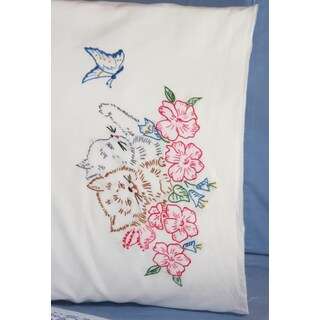 Stamped Perle Edge Pillowcases 30inX20in 2/PkgTwin Kitten