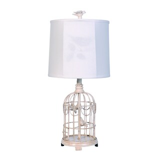 Somette Birdcage Weathered Cream 24-inch Table Lamp