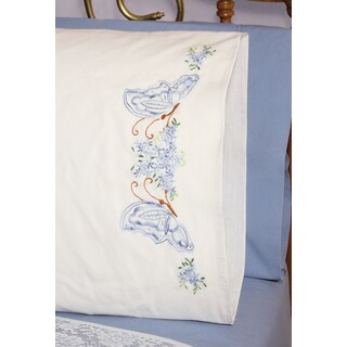 Stamped Perle Edge Pillowcases 30inX20in 2/PkgTwin Butterflies