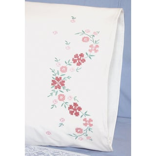 Stamped Perle Edge Pillowcases 30inX20in 2/PkgSmall Flower