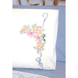 Stamped Perle Edge Pillowcases 30inX20in 2/PkgRibbon & Flowers|https://ak1.ostkcdn.com/images/products/10564486/P17642252.jpg?impolicy=medium