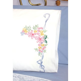 Stamped Perle Edge Pillowcases 30inX20in 2/PkgRibbon & Flowers