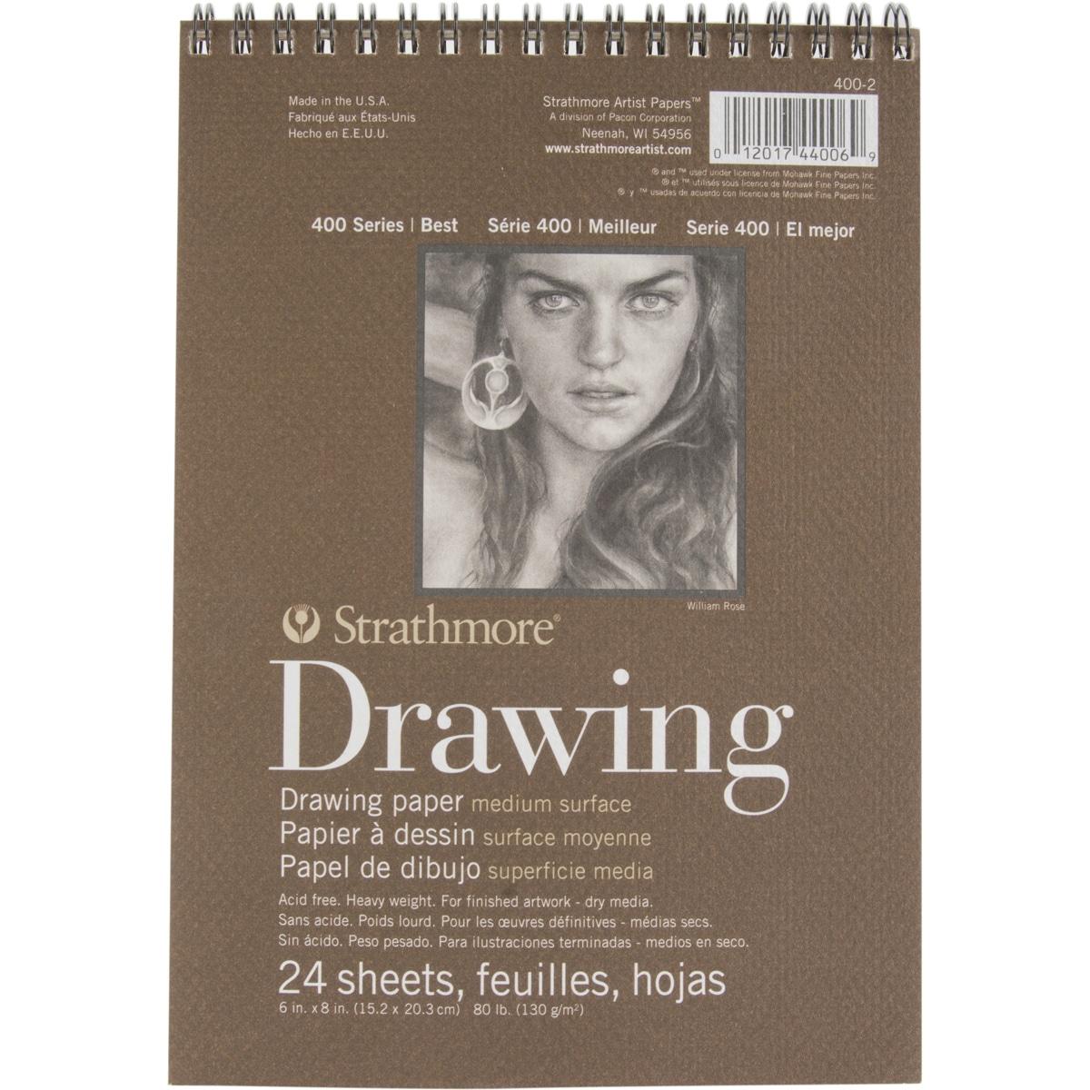 Pro-Art Strathmore Medium Drawing Spiral Paper Pad 6inX8i...