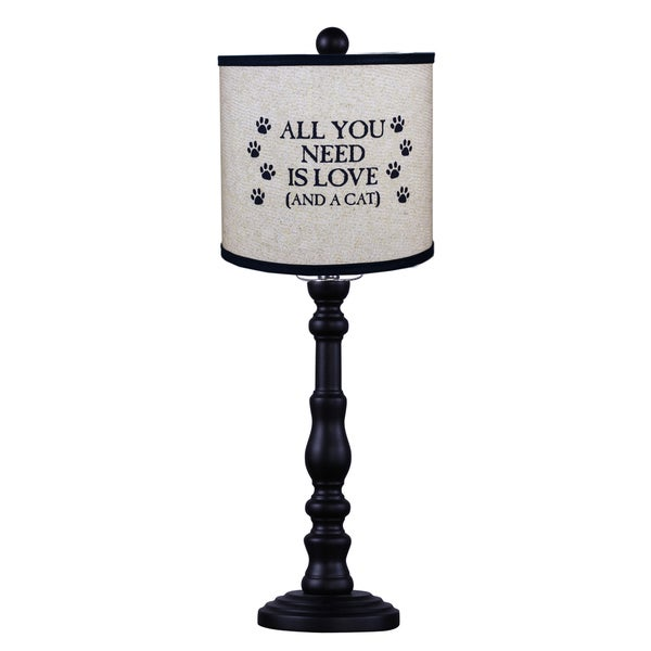 Somette Townsend Black Cat Quote 21-inch Table Lamp