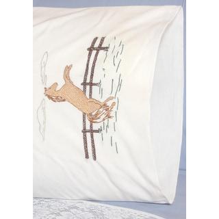 Stamped Perle Edge Pillowcases 30inX20in 2/PkgHorse