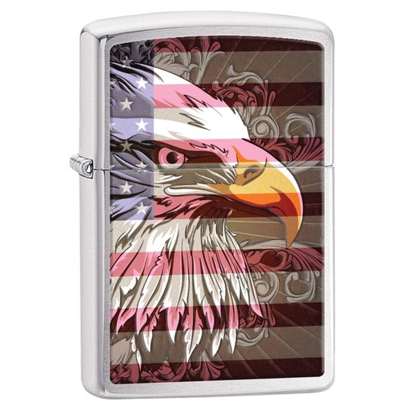 Zippo Eagle Flag Brushed Chrome Windproof Lighter