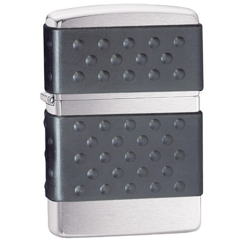 Zippo Black Zip Guard Brushed Chrome Lighter