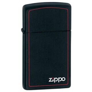 Zippo Slim Black Matte Lighter Zippo Logo