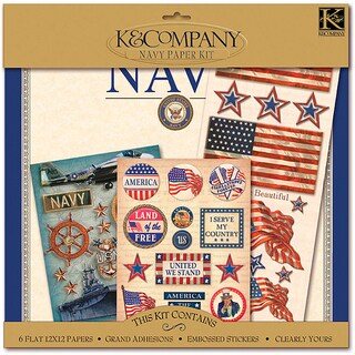 K&CO Scrap Kit 12inx12inMilitary Navy