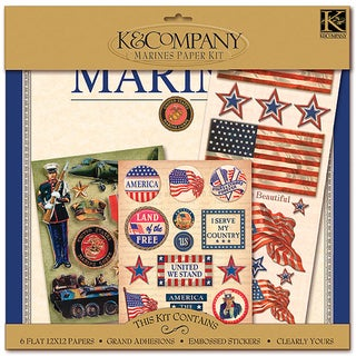 K&CO Scrap Kit 12inX12inMilitary Marines