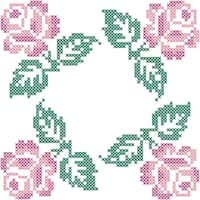 Stamped Quilt Blocks 18inX18in 6/PkgRoses In Four Corners