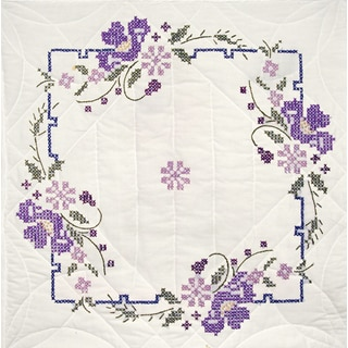 Stamped Quilt Blocks 18inX18in 6/PkgIris On Square Border