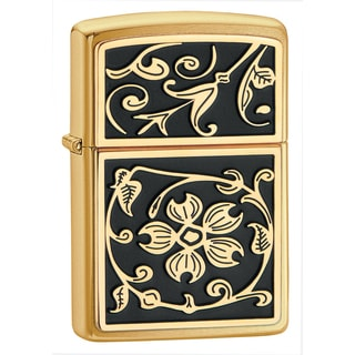 Zippo Gold Floral Flush Emblem Brushed Brass Lighter