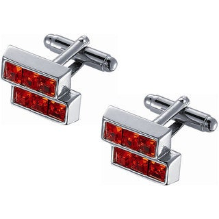 Men's Orange Crystal In Silver Frame Cuff-links