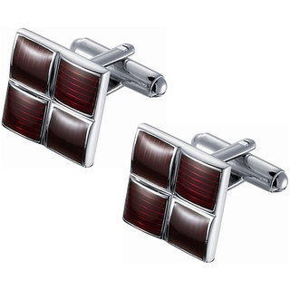 Ridged Red Enamel Square Cufflinks