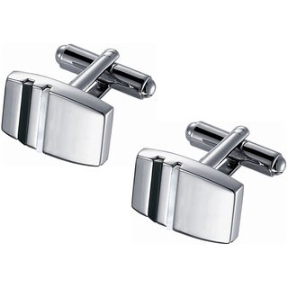 Rhodium Finish Cufflinks with White Mother of Pearl and Black Onyx Accents