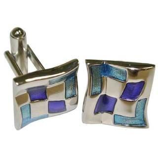 Metallic Blue Enamel and Rhodium Cufflinks