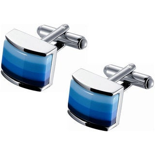 Rhodium-Polished Blue Spectrum Enamel Cufflinks