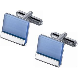 Stainless Steel Light Blue Catseye Cufflinks