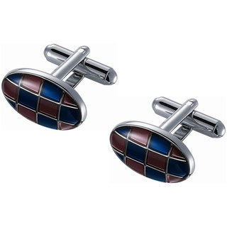 Oval Pink and Blue Enamel Cufflinks