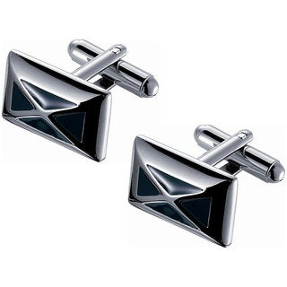 Visol Rhodium-plated x Striped Black Enamel Cufflinks