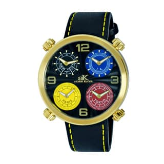 Adee Kaye Men's Beaming Arc Design with 4 Time Zone Timepiece|https://ak1.ostkcdn.com/images/products/10564779/P17642447.jpg?impolicy=medium