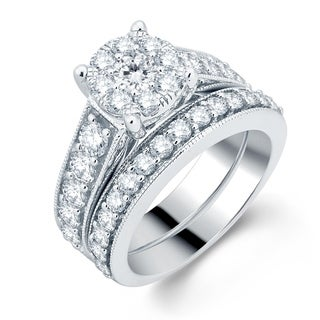 Divina 14k White Gold 2 1/2ct TDW Diamond Bridal Set