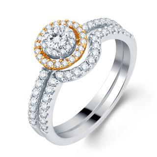 Divina 14k Two-tone Gold 1/2ct Diamond Halo Bridal Set
