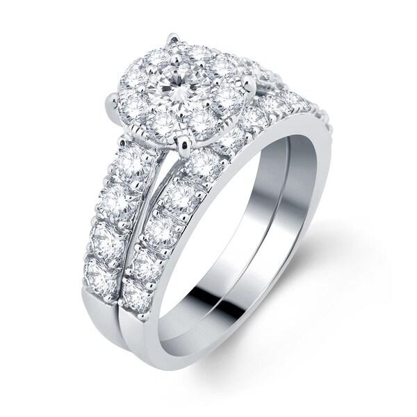 Divina 10k White Gold 2ct TDW Diamond Bridal Set (H-I, I1-I2)