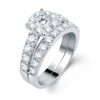 Divina 10k White Gold 2ct TDW Diamond Bridal Set (H-I, I1-I2)
