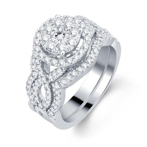 Divina 10k White Gold 1 3/8ct TDW 3-piece Diamond Bridal Set