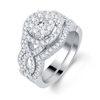 Divina 10k White Gold 1 3/8ct TDW 3-piece Diamond Bridal Set (H-I, I1-I2)