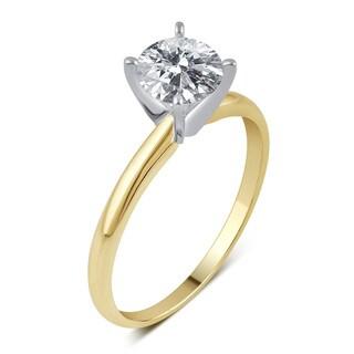 Divina 14k White Gold 3/4ct TDW IGL-certified Diamond Solitaire Engagement Ring (H-I, I2-I3)