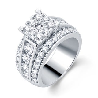 Divina 10k White Gold 3ct TDW Diamond Engagement ring