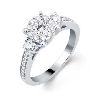 Divina 14k White Gold 1ct TDW 3-stone Unity Diamond Engagement Ring