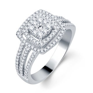 Divina 10k White Gold 3/4ct TDW Halo Diamond Bridal Ring (H-I, I1-I2)