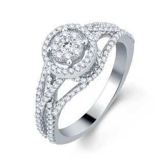 Divina 10k White Gold 3/4ct TDW Halo Diamond Engagement Ring (H-I, I1-I2)
