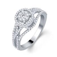 Divina 10k White Gold 3/4ct TDW Halo Diamond Engagement Ring (H-I, I1-I2)