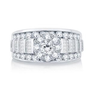 Divina 10k White Gold 2ct TDW Baguette and Round Diamond Ring (H-I, I1-I2)
