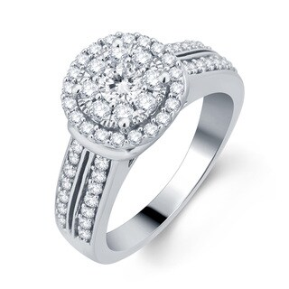 Divina 10k White Gold 1ct TDW Diamond Halo Engagement Ring (H-I, I1-I2)