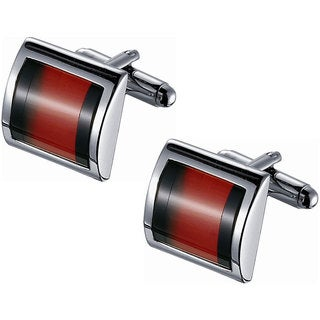 Rhodium-plated Stainless Steel Orange Catseye and Black Gemstone Cufflinks
